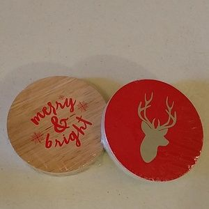 Other - 5/$25 Christmas reindeer coasters - Merry & Bright